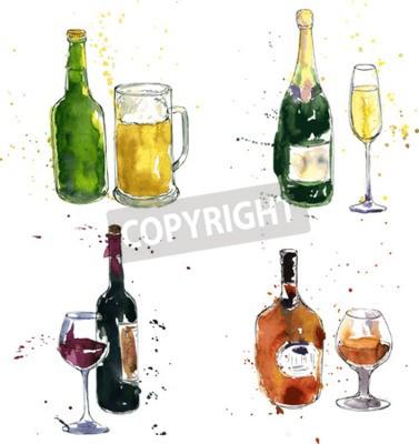 Fotomural Conhaque garrafa e copo, garrafa de vinho e vidro, garrafa de champanhe e vidro, garrafa de cerveja e copo, desenho de aguarela e tinta, mão desenhada ilustração vetorial