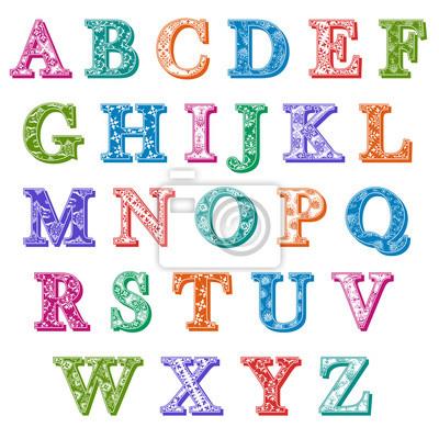 Conjunto Completo Coloridos Estampados Letras Do Alfabeto Fotomural