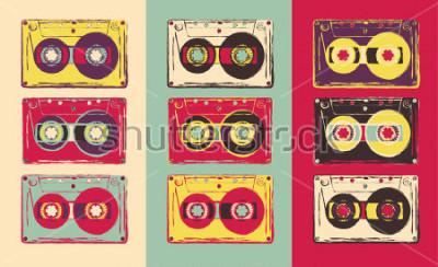 Fotomural Conjunto de cassetes áudio retrô, estilo pop art. Imagem vetorial.