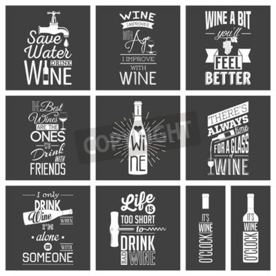Fotomural Conjunto de citações tipográficas do vinho do vintage.