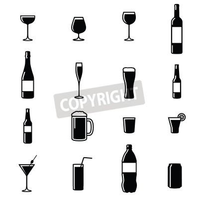 Fotomural Conjunto De Dezesseis Bebidas Preto Silhueta Branco Ilustrações Vector