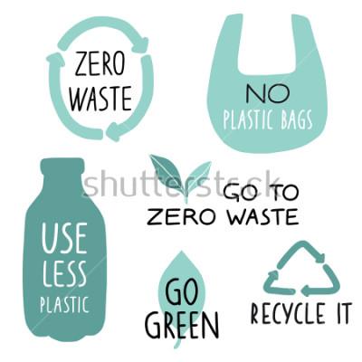 Fotomural Conjunto de elementos de ilustração de Eco e cartas manuscritas. Recicle, use menos plástico, fique verde. Zero slogan de vida de resíduos, tipografia. Ilustração vetorial
