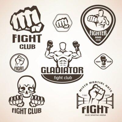 Fotomural Conjunto de emblemas de clubes de luta, MMA, etiquetas de boxe e bages
