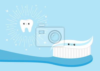 6e8c37b40 Fotomural Conjunto de ícones de dentes saudáveis. Escovação de dentes  Higiene bucal oral Pasta de