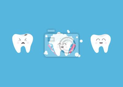 2206e4722 Fotomural Conjunto de ícones de dentes sorridentes saudáveis. Chorando ruim  com dentes com cárie.