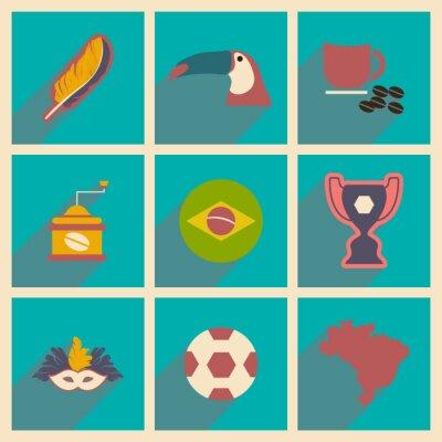 Fotomural Conjunto de ícones planos com sombra longa Brasil