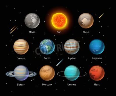 Fotomural Conjunto de vetores coloridos dos planetas no fundo escuro, jogo do vetor do planeta. Ícones do planeta 3d elementos infográficos. Silhueta da coleção dos planetas. Planetas ilustração vetorial ícones