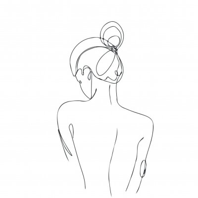 Fotomural Continuous line drawing. Woman body. Vector Illustration for spa, tshirt, nails, poster