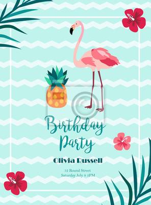 Convite De Aniversário Brilhante Em Estilo Havaiano Com Flamingo