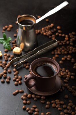 Fotomural Copo, café, café, feijões