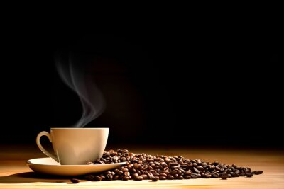 Fotomural Copo, café, fumo, café, feijões, antigas, madeira, fundo
