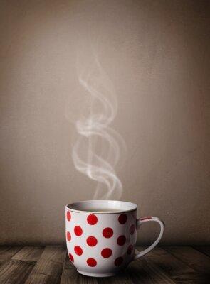 Fotomural Copo de café com vapor abstrato branco