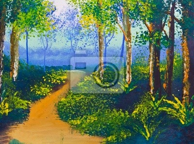 Cor Cartaz Desenho Caminho A Pe Na Floresta Fotomural Fotomurais