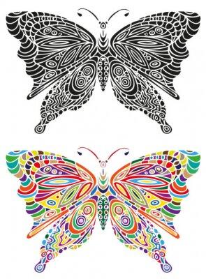 Fotomural Cor do ornamento da borboleta e preto