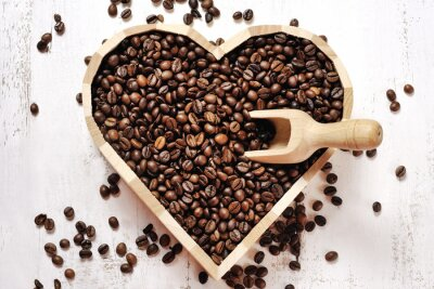 Fotomural Coração, café, feijões