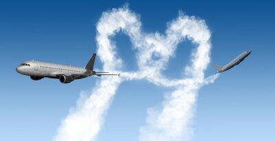 Fotomural Coração, forma, trilhas, aviões, azul