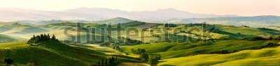 Fotomural Cores bonitas e miraculosas da paisagem verde do panorama da mola de Toscânia, Itália.