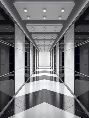Fotomural Corredor em preto-e-branco.