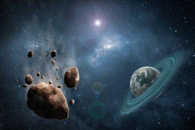 Fotomural Cosmos, cena, asteróide, planeta, nebulosa, espaço