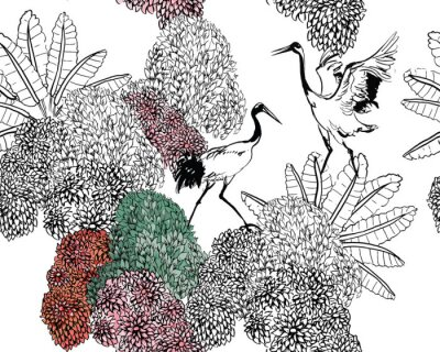 Fotomural Couple of Cranes in Rajastan Blooming Bushes and Tropical Leaves, Black and White Doodle Drawing Wildlife Exotic Bushes, Tropical Birds in Jungle Textile Design on White Background