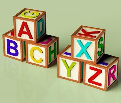 Fotomural Crianças Blocos Com Abc E xyx como o símbolo da Educação e Learnin