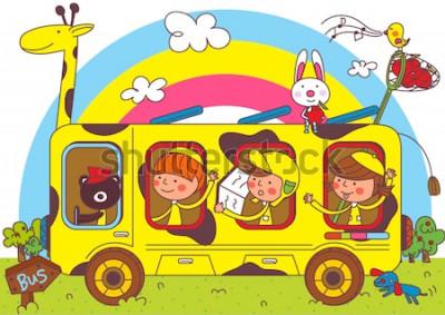 Fotomural Crianças em viagens de ônibus escolar