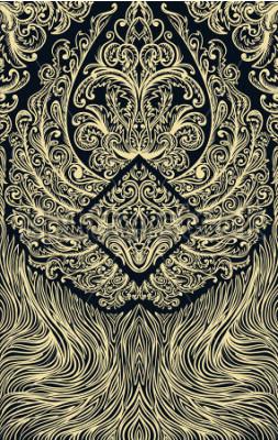 Fotomural Crie o padrão de ornamento jogando cartas ou livro. Asas ornamentadas em fundo preto. Vintage floral mão ilustrações desenhadas Motivo vitoriano. Retrô banner, convite, cartão de casamento, reserva d