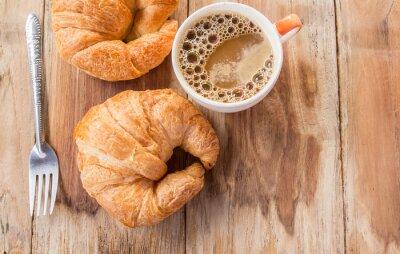 Fotomural Croissant, café, pequeno almoço, antigas, madeira, tabela