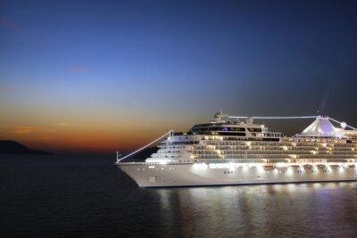 Fotomural Cruzeiro de luxo veleiro de porto no nascer do sol