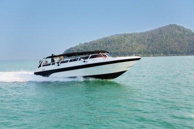 Fotomural Cruzeiro, velocidade, bote, Andaman, mar, tailandia