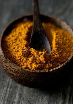 Fotomural Curry, pó, madeira, superfície