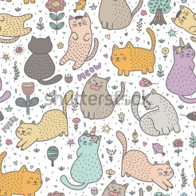 Fotomural Cute cats in the summer seamless pattern. Great for cards, invitations, fabric and textile. Vector illustration