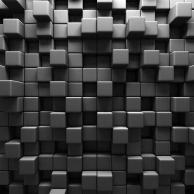 Fotomural Dark Grey Cube Blocks Wall Background