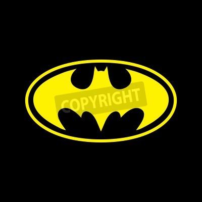 Fotomural DC Comics super-herói Batman logotipo amarelo em fundo preto