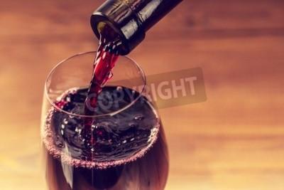 Fotomural Derramando, vermelho, vinho, vidro, contra, madeira, fundo
