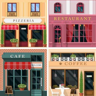 Fotomural Descrição da ilustração: Jogo de restaurantes detalhados do plano do projeto e de ícones da fachada dos cafés. Refrigere o projeto exterior gráfico para o negócio do restaurante.