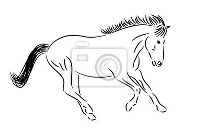 desenho correndo cavalo preto branco fotomural fotomurais trote