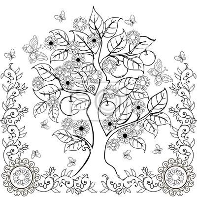 Desenho De Arvore De Maos Com Flores E Macas Primavera Livros