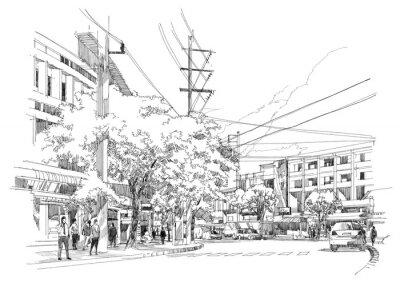 Fotomural desenho de esboço da cidade street.Illustration.