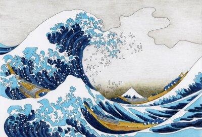 Fotomural Desenho de Hokusai a grande onda de Kanagawa para colorir