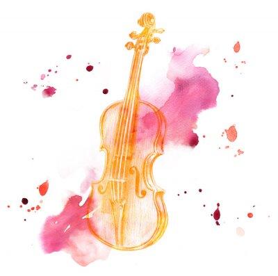 Desenho De Lapis Do Violino Colorido Dourado Do Vintage No