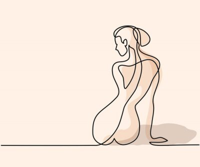 Fotomural Desenho de linha contínua. Mulher sentada de volta. Ilustração de vetor de cores macias