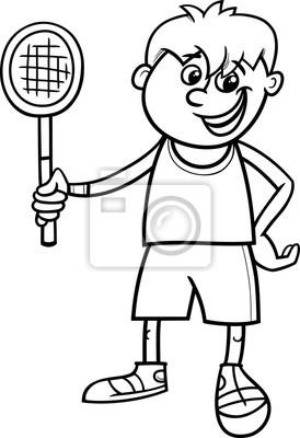 desenho de menino com raquete de tênis para colorir fotomural