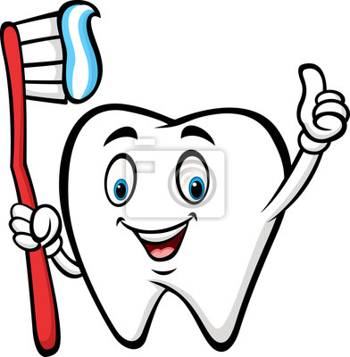 Desenho Dente Segurando Dente Escova Dar Polegar Cima