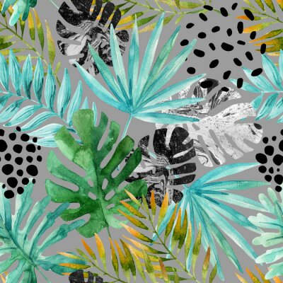 Fotomural Desenho desenhado abstrato de verão tropical