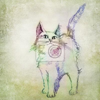 Desenho Do Gato Colorido Fotomural Fotomurais Festa De