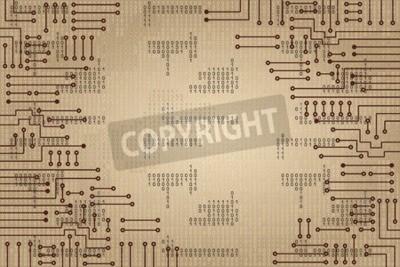 Fotomural Desenho, modernos, eletrônico, circuito, binário, código