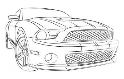 Fotomural Desenho muscle car moderno