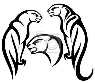 Desenho Tribal Pantera Fotomural Fotomurais Leoa Monocromatico