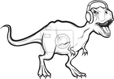 desenho whiteboard dinossauro t rex com fones de ouvido fotomural